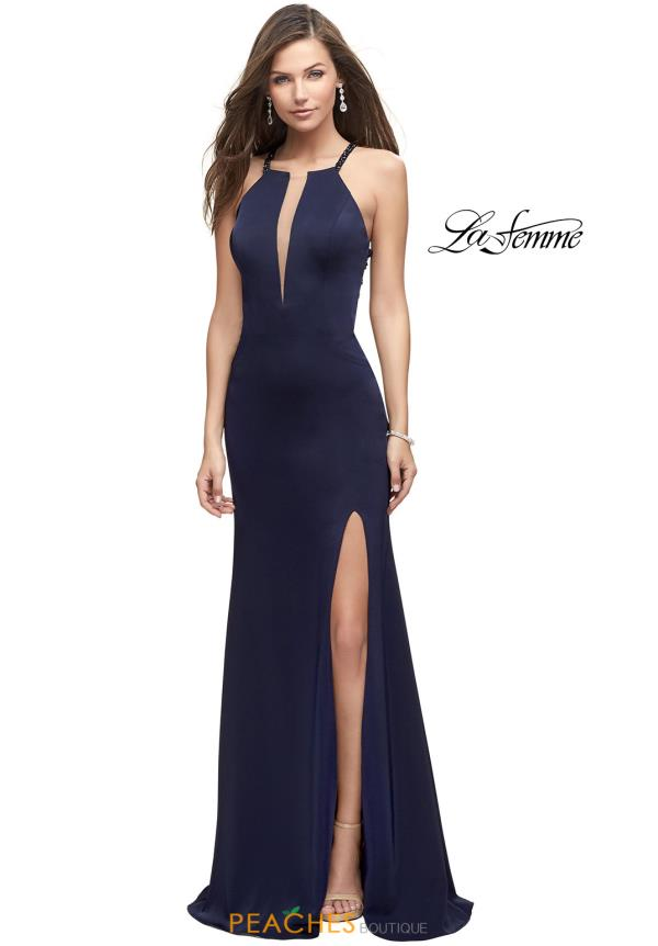 La Femme Long Jersey Dress 25669