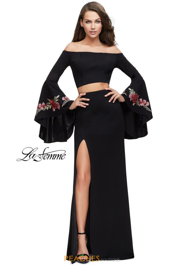 La Femme Off the Shoulder Long Dress 25741