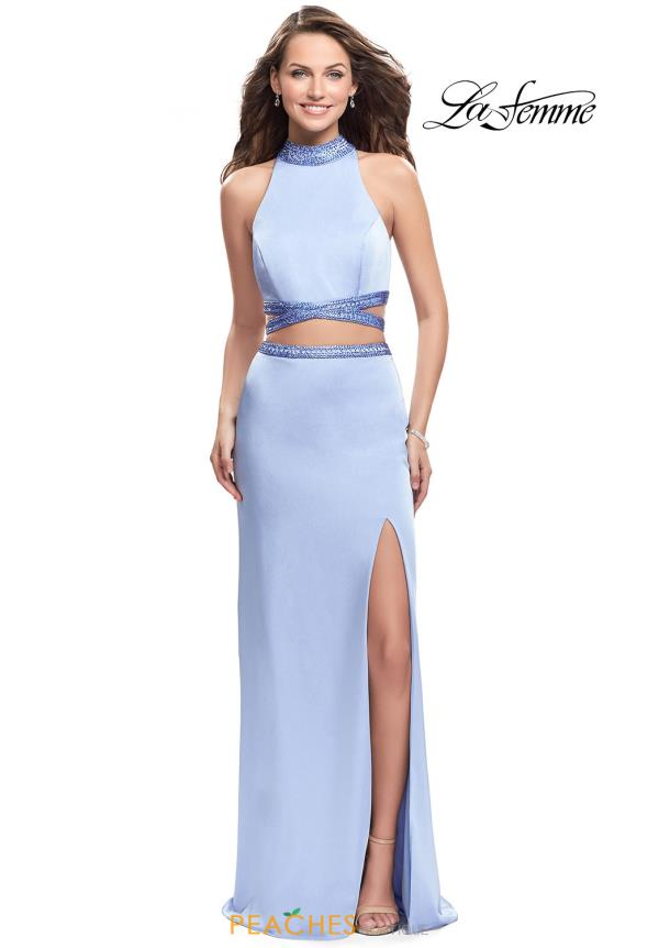 La Femme High Neckline Long Dress 25746