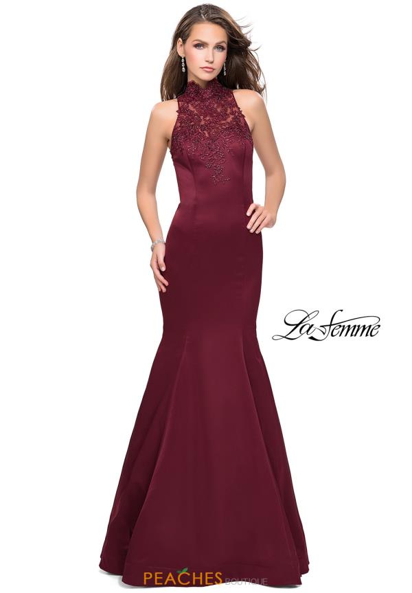 La Femme High Neckline Fitted Dress 25792