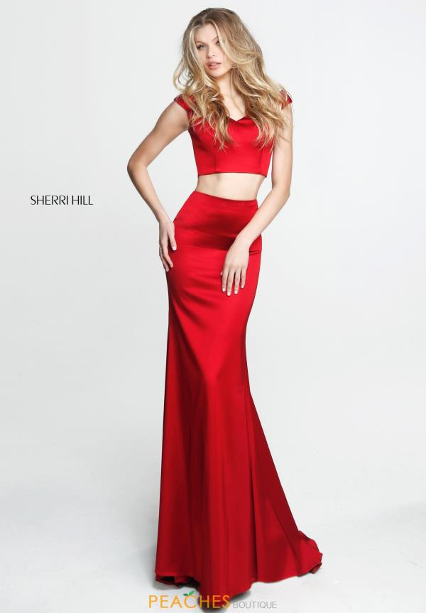 Sherri Hill Cap Sleeve Satin Dress 51251
