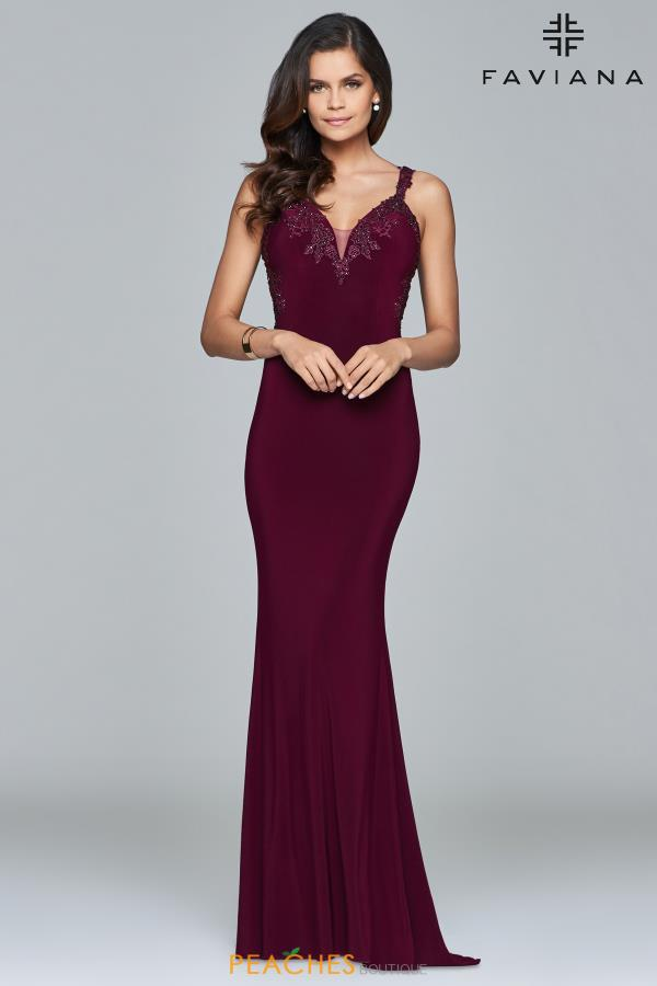 Faviana Long Beaded Dress S7999
