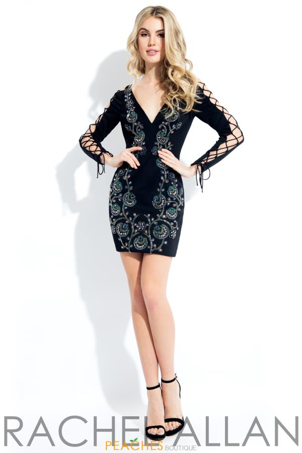 Rachel Allan Long Sleeve Beaded Dress 4472