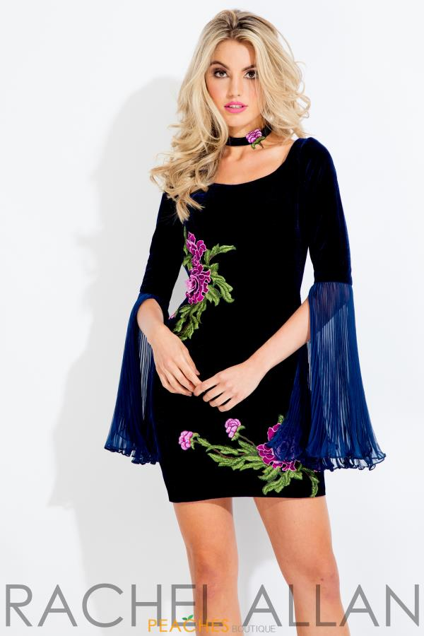 Rachel Allan Long Sleeve Short Dress 4475