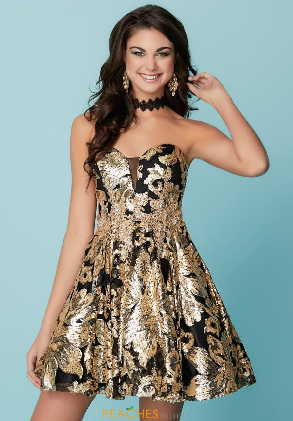 Hannah S Strapless Sequins Dress 27159