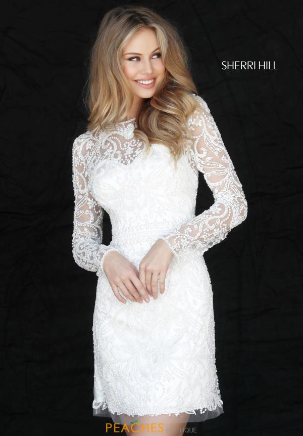 Sherri Hill Short Long Sleeve Beaded Dress 51288
