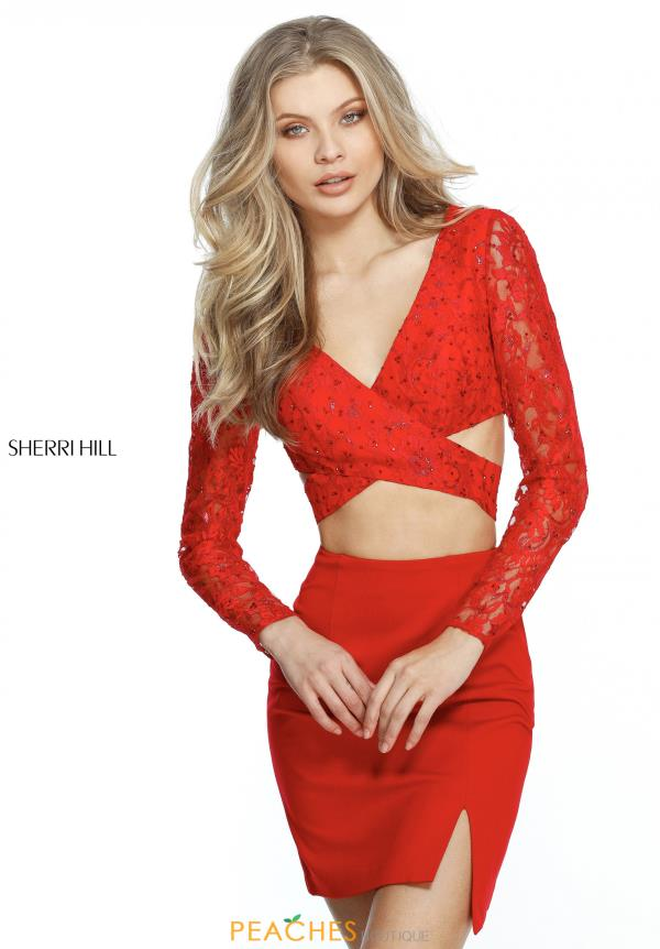 Sherri Hill Short Long Sleeve Lace Dress 51304