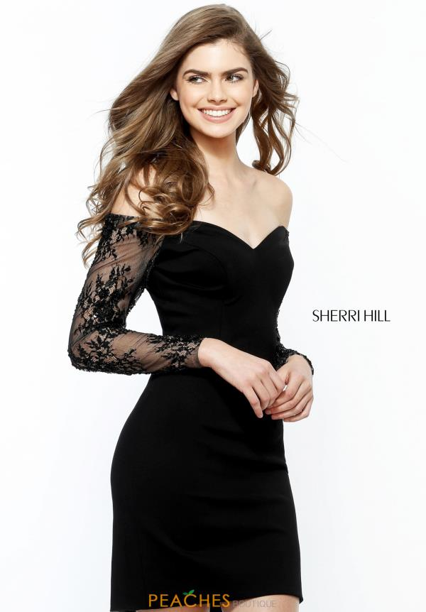 Sherri Hill Short Long Sleeve Lace Dress 51361