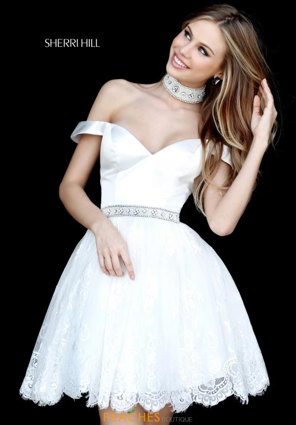 Sherri Hill Short Lace A Line Dress 51385