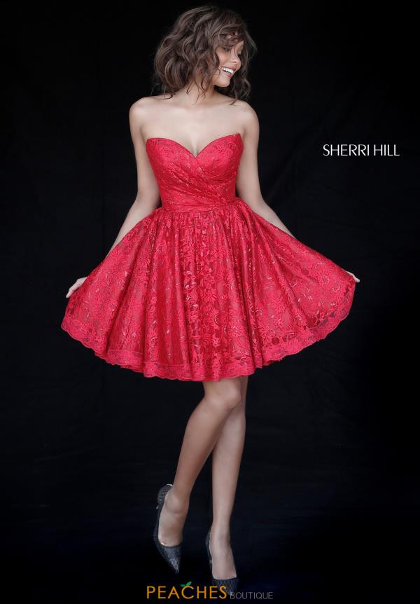Sherri Hill Short Sweetheart Lace Dress 51387