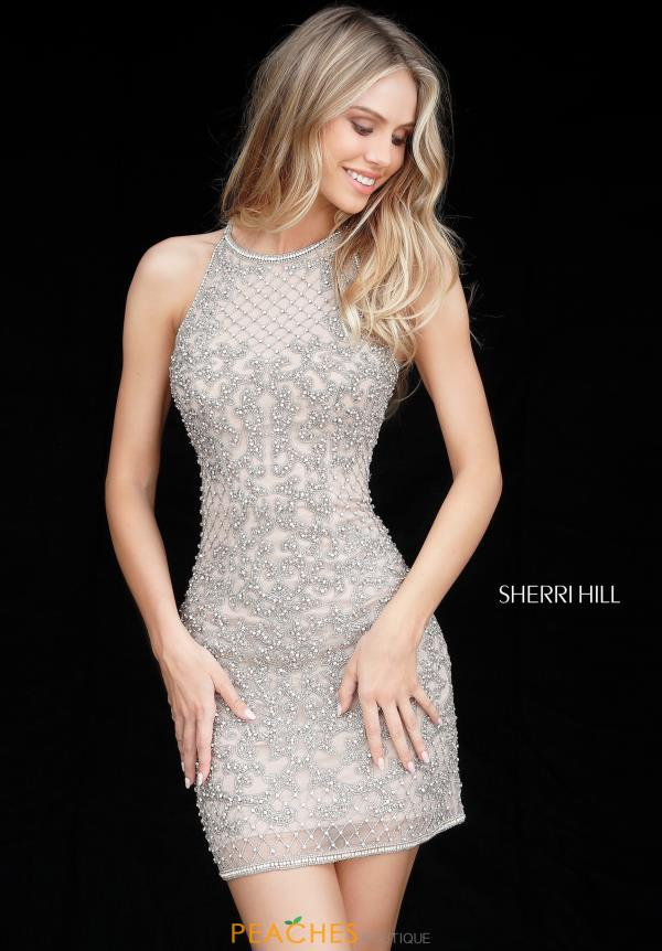 Sherri Hill Short Fitted Beaded Dress 51501