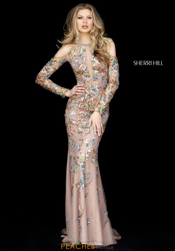 Sherri Hill Long Sleeve Beaded Dress 51486