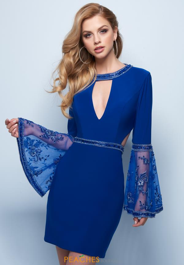 Splash Sleeved Fitted Dress E726