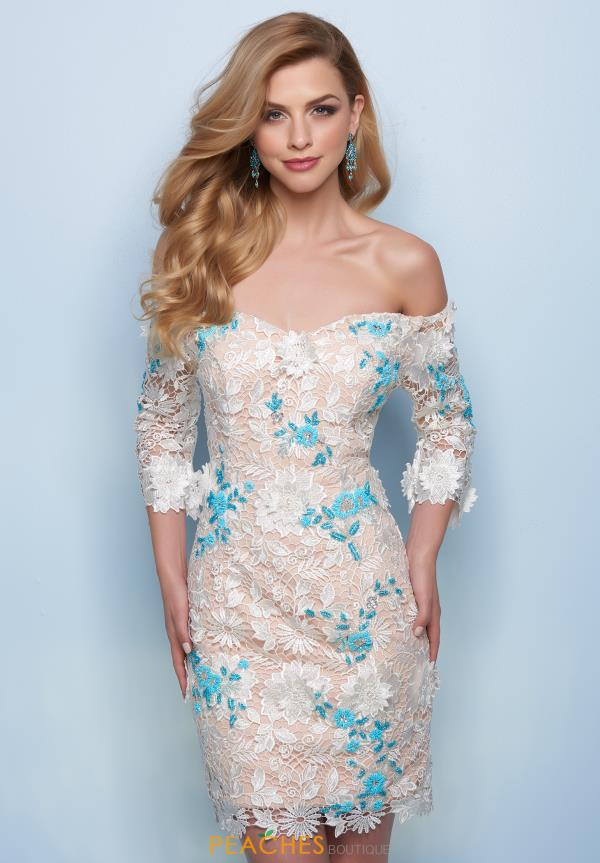 Splash Off the Shoulder Fitted Dress E733