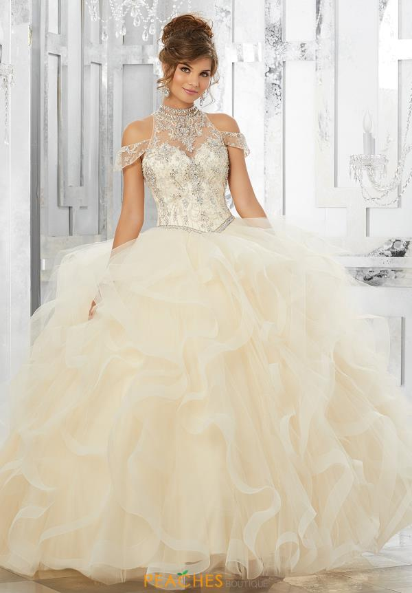 Vizcaya Quinceanera Cap Sleeved Beaded Dress 89152