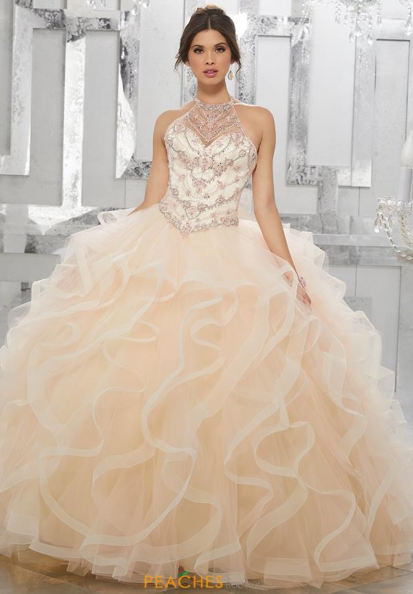 Vizcaya Quinceanera Lace Back Beaded Dress 89154