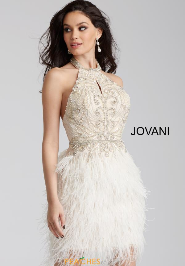 Jovani Cocktail Feather Skirt Dress 45547