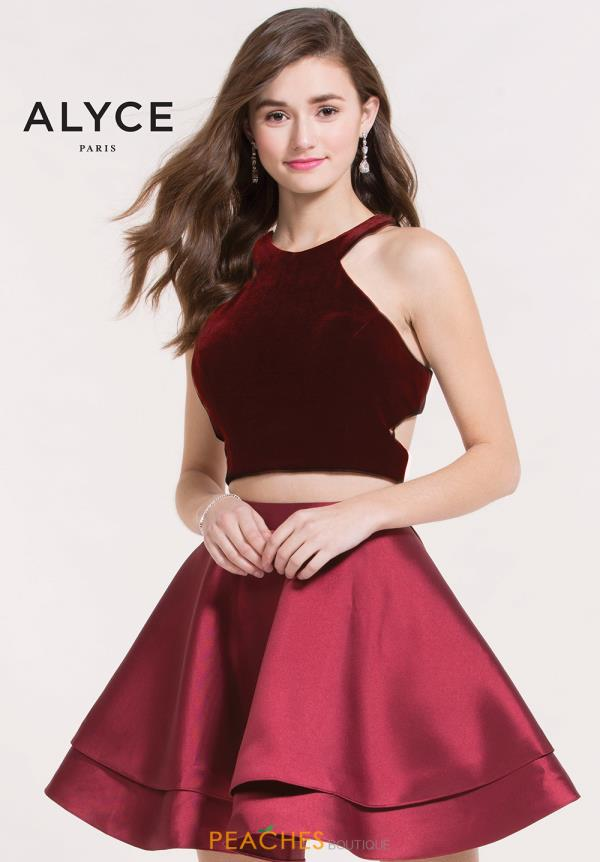 Alyce Short Two Piece Velvet Dress 2648