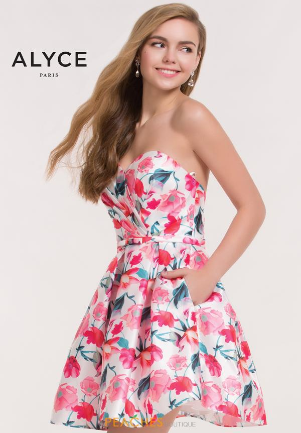 Alyce Short Strapless Floral Dress 3709