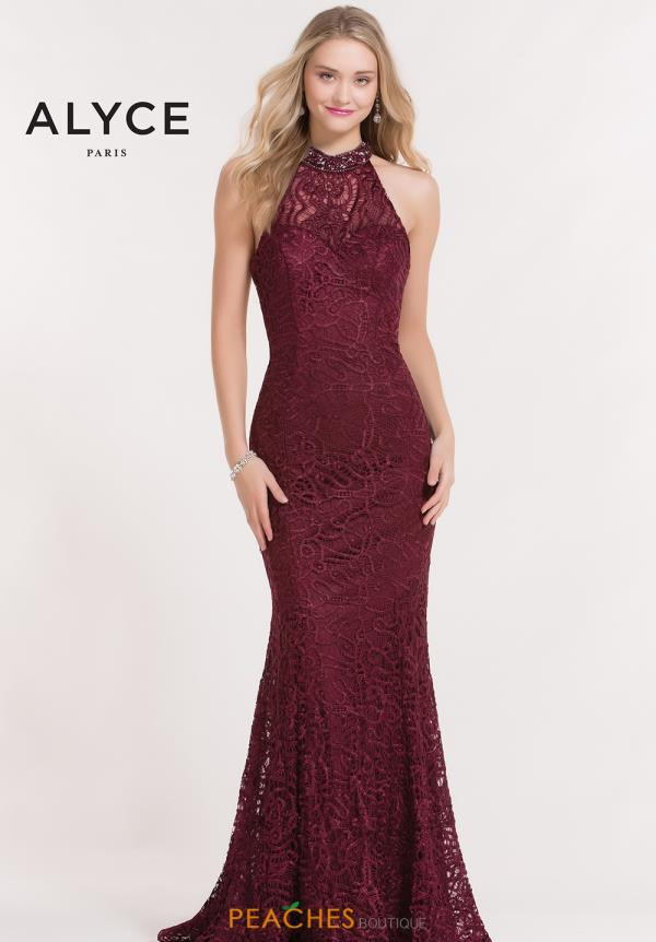 Alyce Paris Halter Beaded Dress 6879