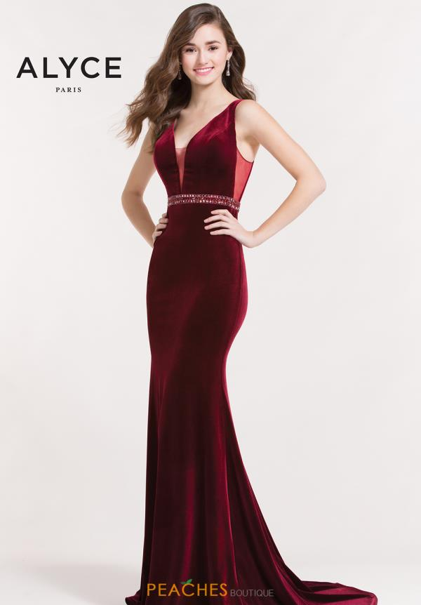 Alyce Paris Velvet Fitted Dress 8026