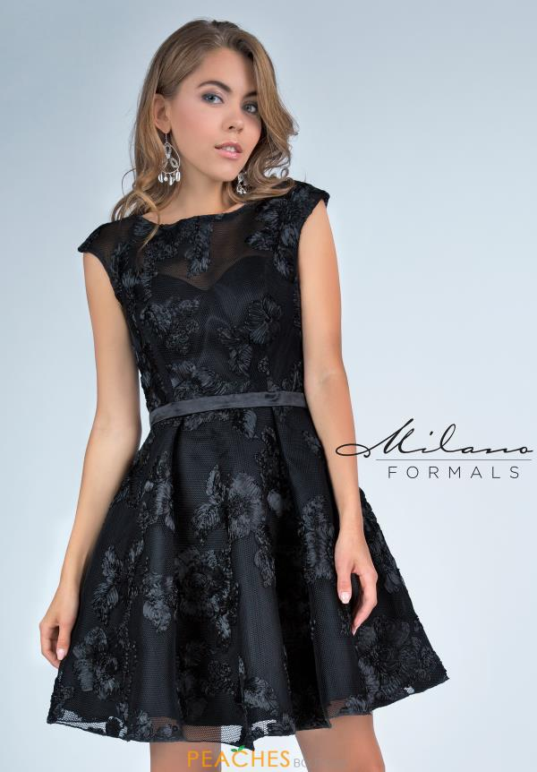 Milano Formals Black A Line Dress E2220