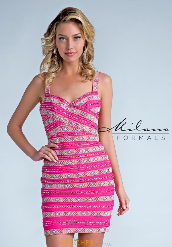 Milano Formals Beaded Pink Dress E2227