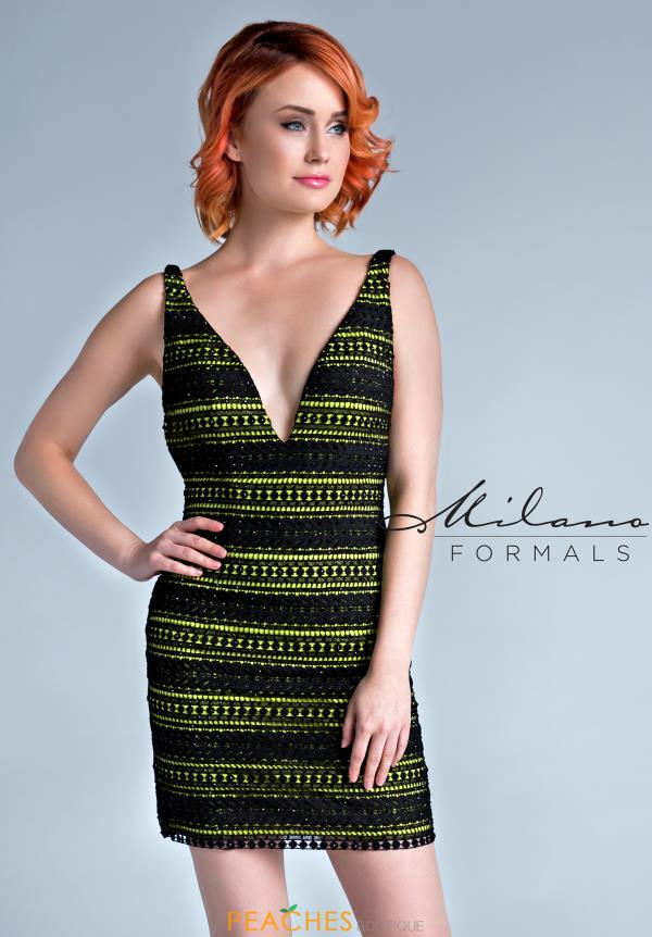 Milano Formals V- Neckline Fitted Dress E2245