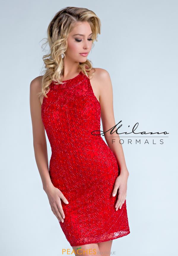 Milano Formals Short Red Dress E2253