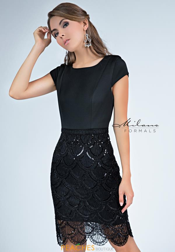 Milano Formals Fitted Black Dress E2262
