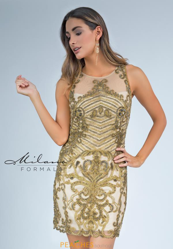 Milano Formals Beaded Gold Dress E2276
