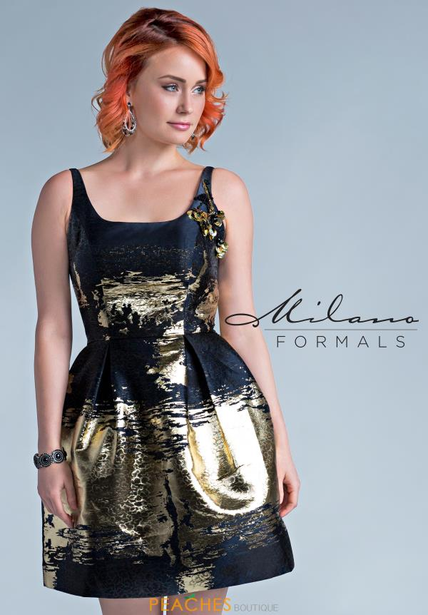 Milano Formals Black A Line Dress E2291