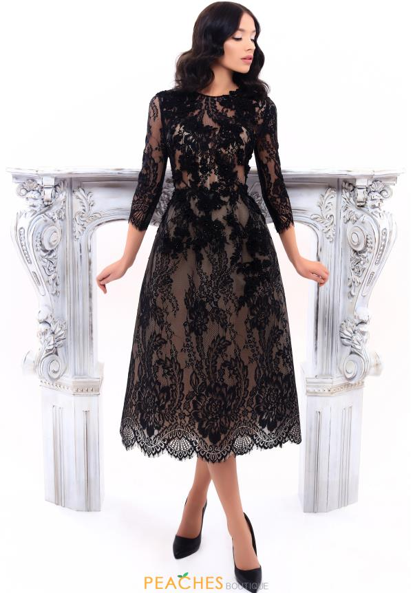 Tarik Ediz Lace A Line Dress 93316
