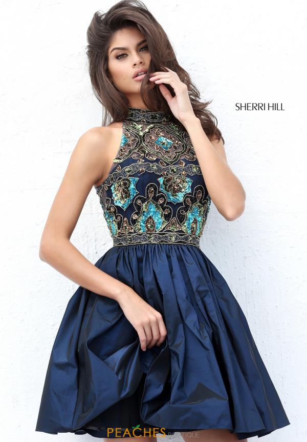 Sherri Hill Short Beaded A Line Dress 50706