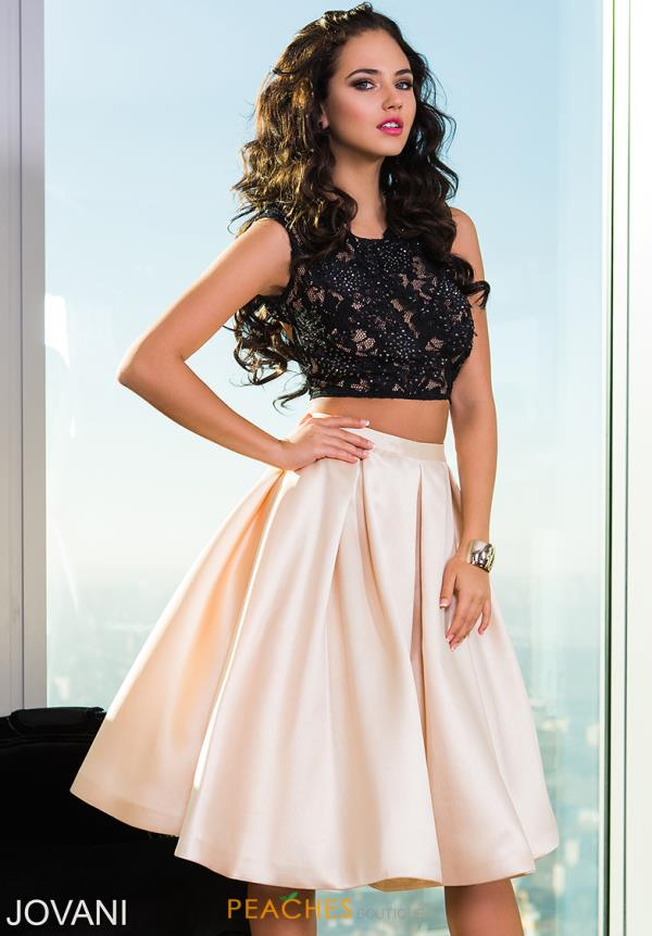 Jovani Cocktail Two Piece A Line Dress 26020