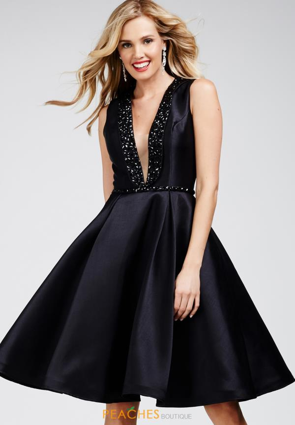 Jovani Cocktail Plunging Neckline A Line Dress 27369