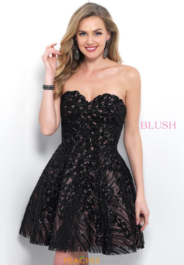 Blush Strapless A Line Dress 11366