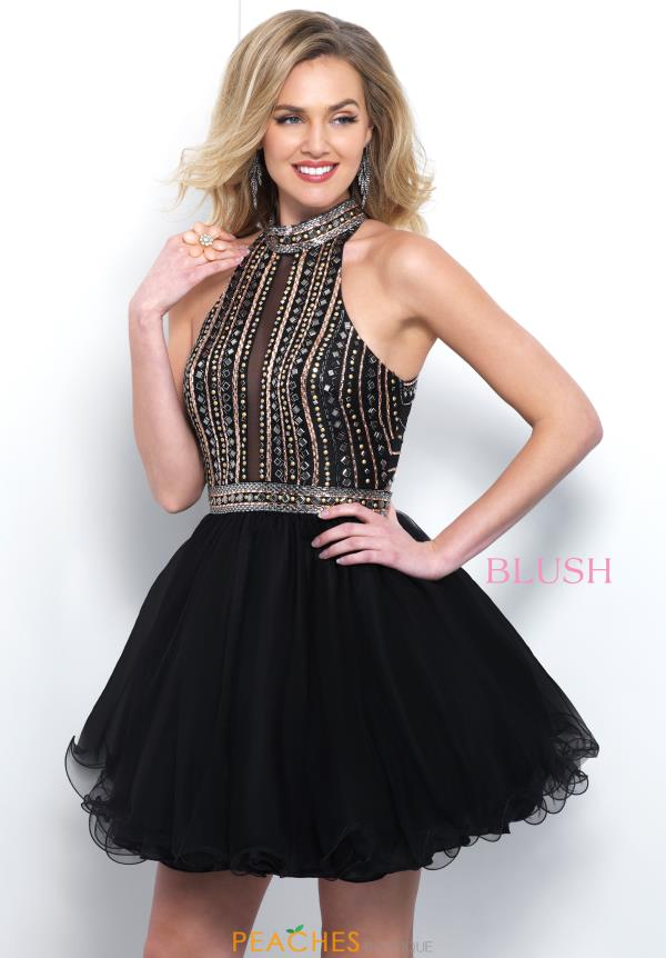 Blush High Neckline Beaded Dress 11384