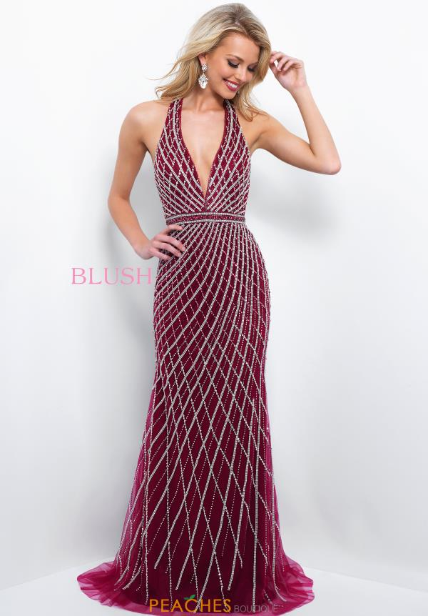 Blush V- Neckline Beaded Dress 11389