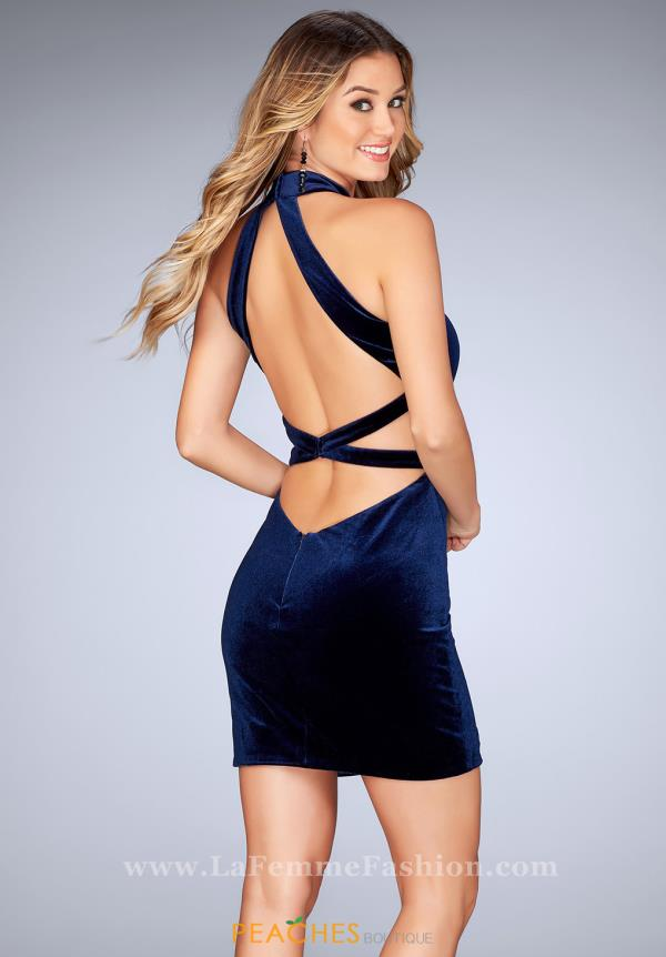 La Femme Short Sexy Back Dress 25032