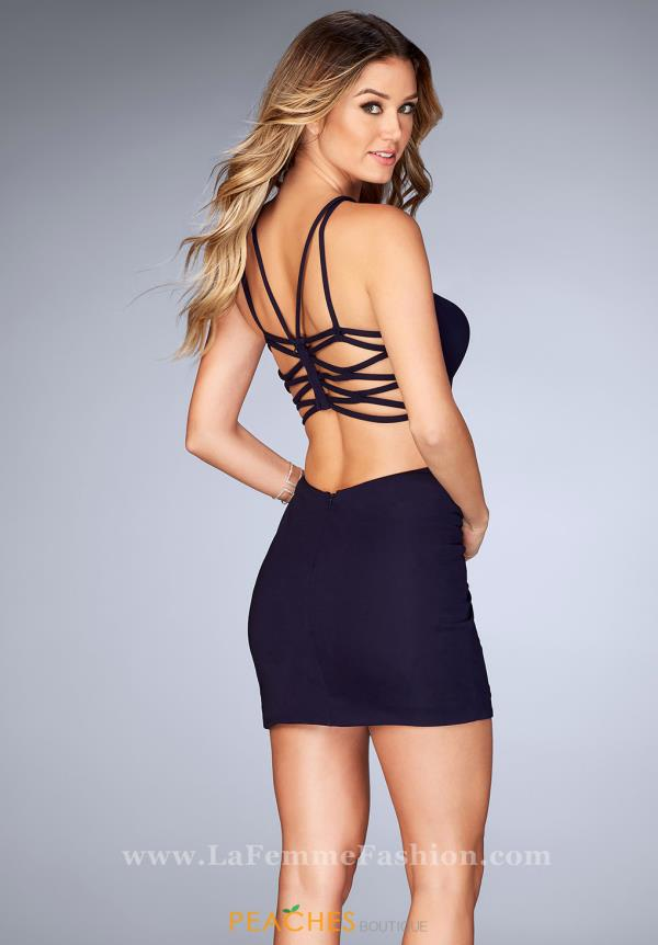 La Femme Short Sexy Back Dress 25058