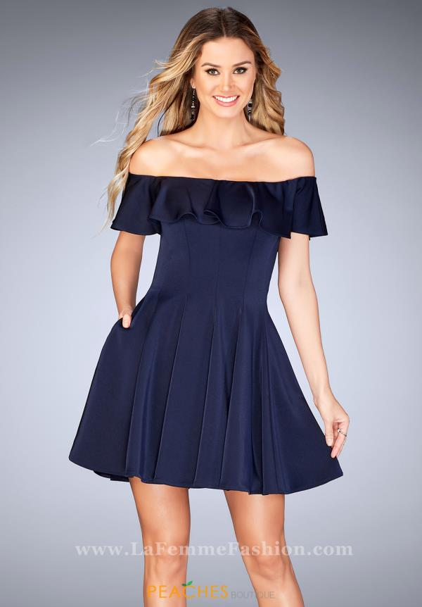 La Femme Short Off The Shoulders Dress 25070