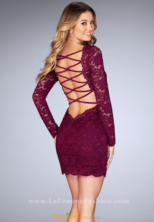 La Femme Short Lace Fitted Dress 25134
