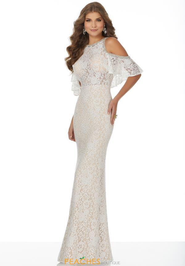 Mori Lee Cap Sleeved Lace Dress 42004