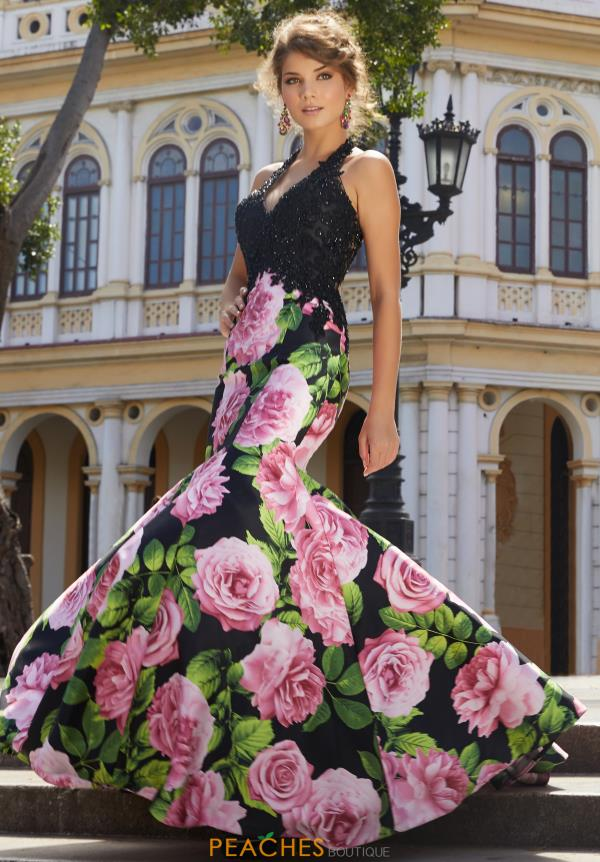 Mori Lee Long Print Dress 42099