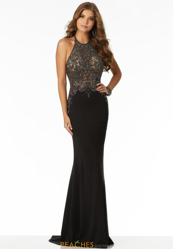 Mori Lee Halter Top Beaded Dress 42114