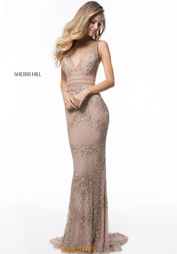 Sherri Hill V- Neck Beaded Dress 51475