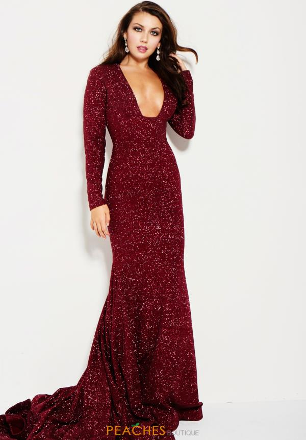 Jovani Stretch Glitter V Neck Dress 55791