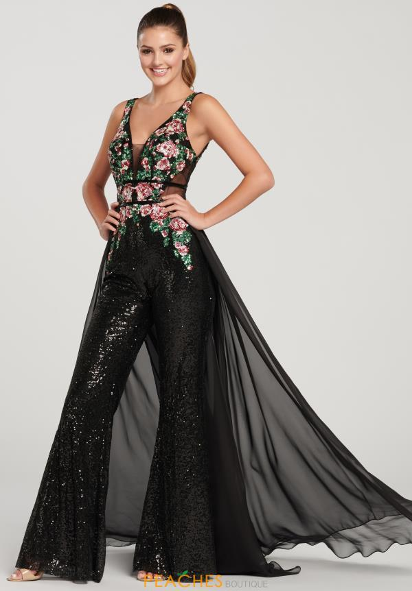 Ellie Wilde V-Neck Sequins Jumpsuit EW119085