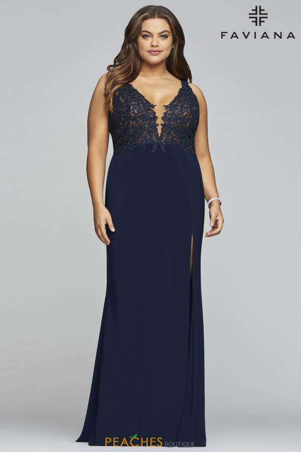 Faviana Plus Size Fitted Jersey Dress 9463